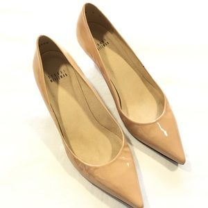 Stuart Weitzman Nude Kitten Heel Patent Leather